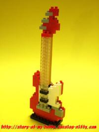 ナノブロック作品:エレキギター(赤)